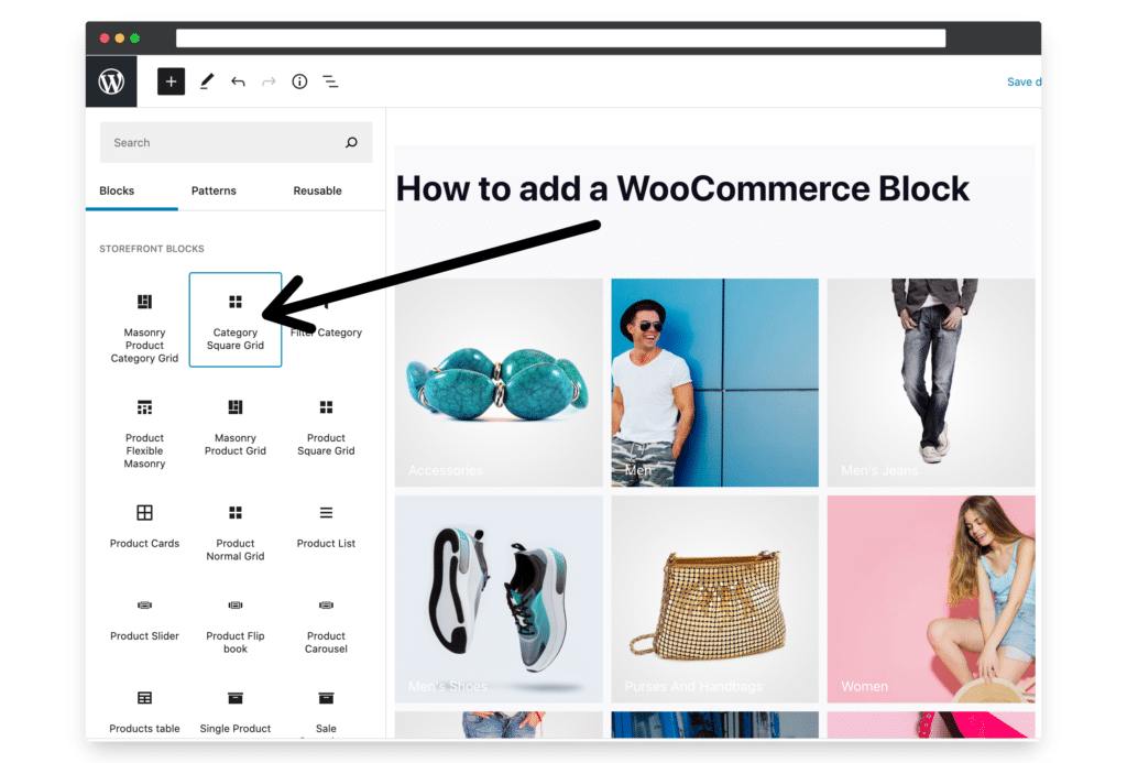 how to add a woocommerce block